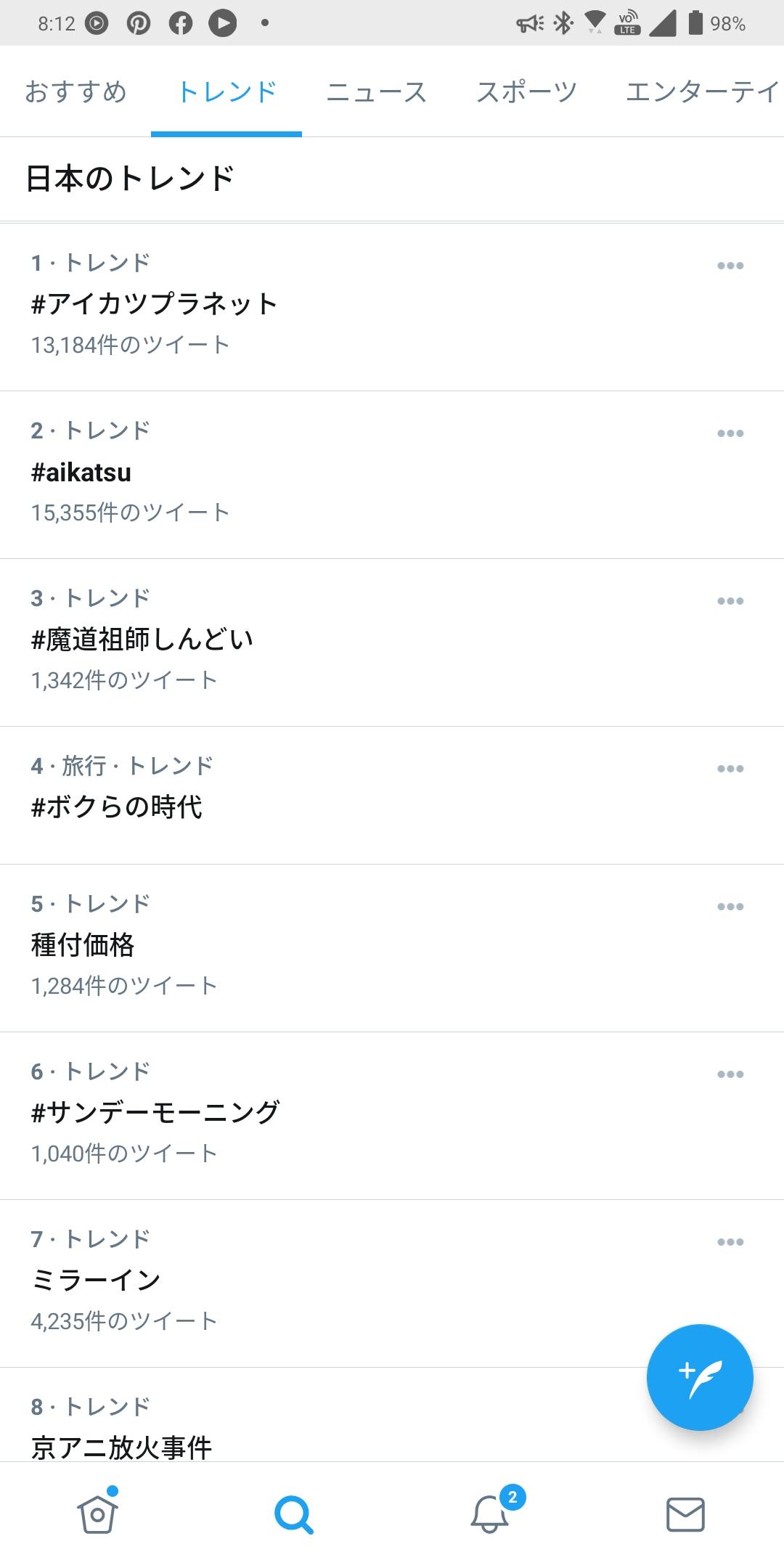 2021/01/10Twitterトレンド