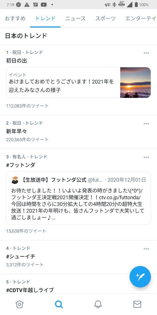 2021/01/01Twitterトレンド